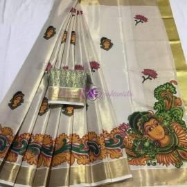 Kerala gold tissue sarees