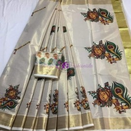 Kerala gold tissue sarees with krishna and peacock feather print