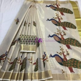 Kerala gold tissue sarees with peacock print