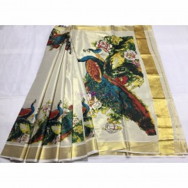 Kerala gold tissue saree with peacock prints