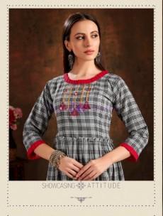 Grey pure cotton checks embroidered kurtis