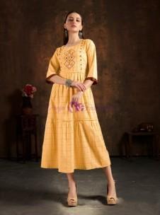 Yellow pure cotton checks embroidered kurtis