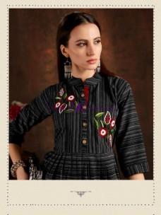 Black pure cotton checks embroidered kurtis