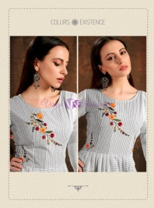 White and grey pure cotton checks embroidered kurtis