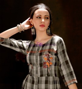 Black and brown pure cotton checks embroidered kurtis