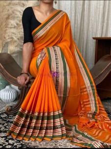 Orange pure narayanpet cotton sarees
