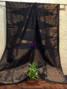 Black khadi silk cotton with zari temple border