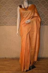 Orange munga tussar silk sarees