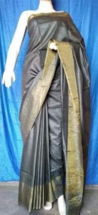Dark Grey munga tussar silk sarees
