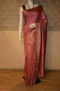 Red munga tussar silk sarees