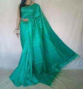 Turquoise munga tussar Silk sarees