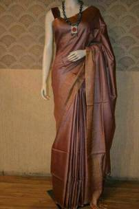 Brown munga tussar silk sarees