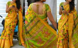 Yellow and green Uppada silk printed sarees