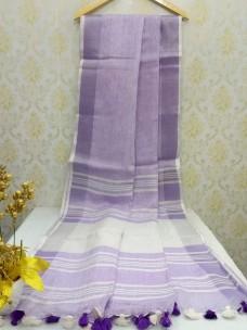 Light Violet 100 counts linen sarees
