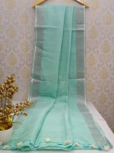 Light turquoise green 100 counts linen sarees