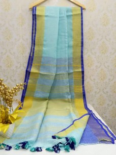 Light blue and dark blue 100 counts linen sarees