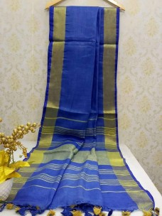 Dark blue 100 counts linen sarees