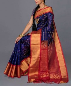 Navy blue and red kuppadam sarees