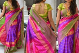 Purple and pink uppada anushka model sarees