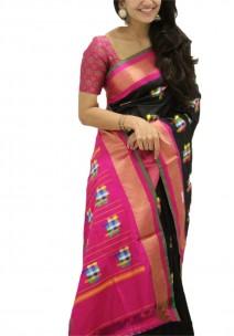 Black with dark pink pochampally ikkat sarees