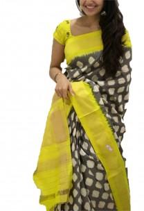 Grey and yellow pochampally ikkat sarees