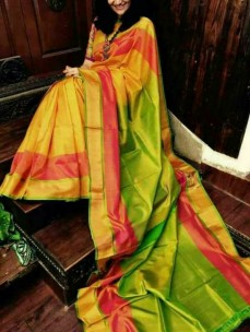 Yellow with light green uppada special border sarees