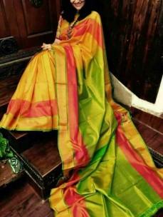 Yellow with light green uppada special border sarees
