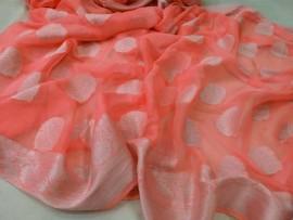 Peach banarasi semi pure silk georgette sarees