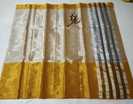Uppada tissue cotton sarees with big gold border