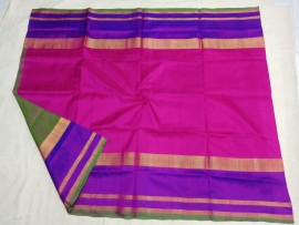Dark pink with green uppada plain pattu sarees