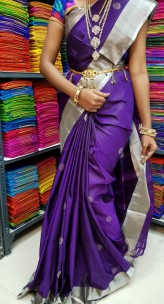 Dark purple uppada sarees with butti