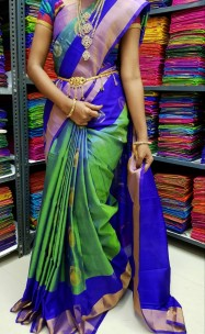 Green and Royal blue uppada sarees with butti