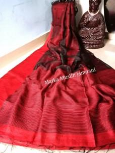 Dark red pure matka muslin jamdani sarees