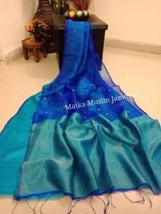 Royal Blue pure matka muslin jamdani sarees