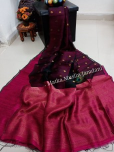 Maroon red pure matka muslin jamdani sarees