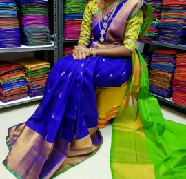 Royal Blue and green uppada sarees with butti