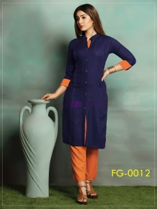 Navy blue ruby slub cotton kurti