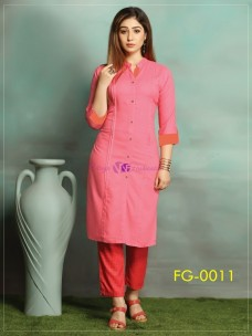 Pink ruby slub cotton kurti