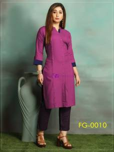 Purple ruby slub cotton kurti