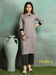 Grey ruby slub cotton kurti
