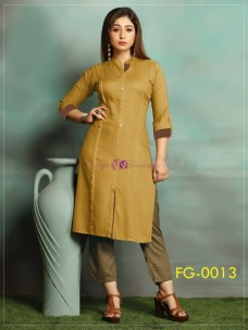Dark mustard yellow ruby slub cotton kurti