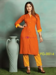 Orange ruby slub cotton kurti