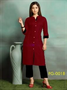 Maroon red ruby slub cotton kurti