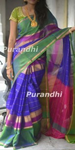 Dark blue and dark purple uppada anushka model sarees