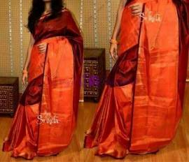 Maroon color uppada half and half tissue sarees