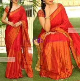 Red colour uppada half and half tissue sarees