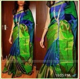Royal Blue colour uppada half and half tissue sarees