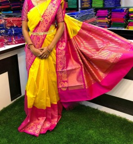 Yellow and pink chanderi kanchi kuppadam sarees