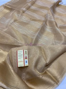 Light gold tussar tissue silk sarees