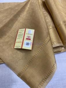 Dark gold tussar tissue silk sarees